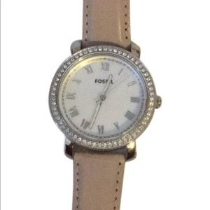 SILVER WITH PINK LEATHER STRAP FOSSIL WATCH